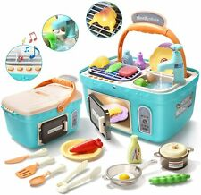 Portable Picnic Basket Toys Kids Pretend Kitchen Play Set Wtih Music Lights Gift