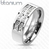 Men's 7mm Solid Titanium Simulated Diamond Comfort Fit Wedding Ring Band