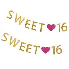 2pcs 16th 2m Gold Sweet 16 Letters Heart Banner Bunting Birthday Decoration
