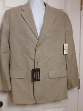 NWT Claiborne Men's 40R Herringbone Sport Coat Jacket Beige 3 Button NEW $145