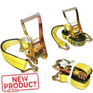 Tie Down Straps Ratchet 2 Inch x 27 Feet Double J Hook 10,000 Lbs Heavy Duty NEW