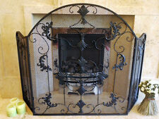 Black Wrought Iron Scrolls Leaves Arched Metal and Mesh Fire Guard Spark Screen