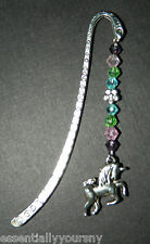 Handmade Multi Color Crystal Silver Unicorn Charm Bookmark NEW Horse