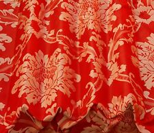 "Red/Silver Damask Jacquard 100% Silk Fabric 54"" Wide, By The Yard (JD-44154)"