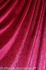 Dance Fabric Stretch Velvet Red With Silver Glitter 50cm X 150cm