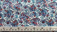MINI PAISLEY FLOWERS WHITE BLUE RED DEAR STELLA COTTON QUILT FABRIC