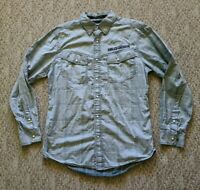 EUC Harley Davidson Men's Pearl Snap Button Up Embroidery Shirt Gray Medium M