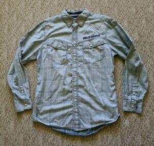 EUC Harley Davidson Men's Pearl Snap Button Up Embroidery Shirt Gray Medium M