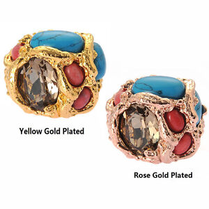 De Buman 18k Yellow Gold Plated or Rose Gold Plated Swarovski & Turquoise Ring
