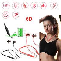 Wireless Bluetooth Headphones Neckband Magnetic Earbuds Sport In-Ear Earphones