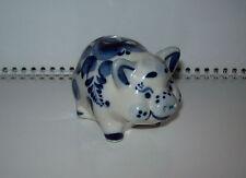 Vintage Porcelain figurine Gzhel hand painted PIG / LITTLE PIG / PIGGY Original