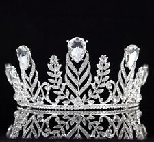 Vine Drip Clear Austrian Rhinestone Tiara Crown Bridal Wedding Pageant Prom T64s