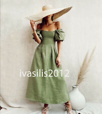 ZARA NEW WOMAN MIDI PUFF SLEEVE DRESS WIDE NECK APPLE GREEN XS-XXL 7385/106
