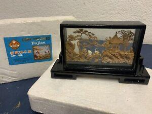 Altes Kork Diorama aus China / Korkschnitzerei / Handarbeit