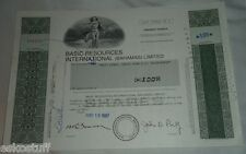 Basic Resources International 100 Shares May 19, 1987 Ordinary Shares Stock See!
