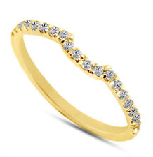 Curved 14K Yellow Gold Classic Traditional 0.20 Carat Diamond Wedding Ring Band