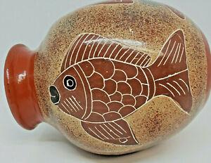 Squared Fish Pottery Vase Folk Art Hand Painted