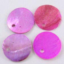 LOT de 30 PERLES rondes plates SEQUINS NACRE NATUREL 13mm tons ROSE FUSCHIA
