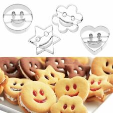 4pcs Smiley Cookie Cutter Stainless Steel Biscuit Mold Fondant Cake Baking
