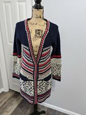 Free People Cardigan Sweater Long Size Small Red White Navy Blue