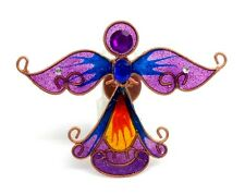Angel Magnet Refrigerator Christmas Decoration Purple Blue Faux Stained Glass