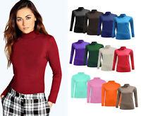 Women Polo Roll Neck Long Sleeve T Shirt Ladies Turtle Neck Top Plus size jumper
