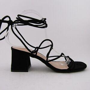 Sandali donna tacco largo schiava lacci camoscio sintetico neri stringhe