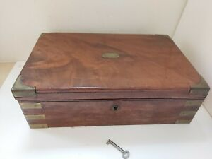 36x11x22cm Collectable Antique Dark Wood Writing Slope Working Lock R1