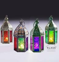 NEW INDIAN MOROCCAN MINI IRON TONAL GLASS LANTERN TEA LIGHT HOLDER HOME & GARDEN