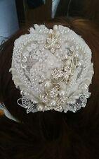 Hecho a Mano Marfil/Crema/Plata/Perla y Diamante De Imitación Novia casco Fascinator de la