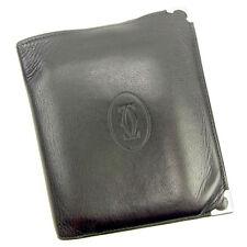 Cartier Wallet Purse Bifold Black Silver Mens Authentic Used Y7555