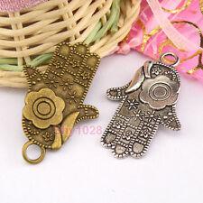 3Pcs Tibetan Silver,Bronze Hand Flower Charms Pendants 27x41.5mm M1260
