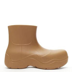 BOTTEGA VENETA 2020 Puddle brown rubber round toe chunky rain boot EU38