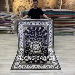 Yilong 4'x6' Blue Hand Knotted Silk Carpets Floral Handmade House Rug 263AB