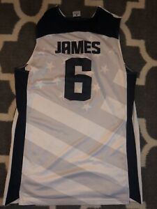 2012 Nike USA Basketball Jersey London Olympics LeBron James #6 White Mens Large