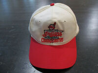 VINTAGE Cleveland Indians Hat Cap White Red World Series Chief Wahoo Baseball *