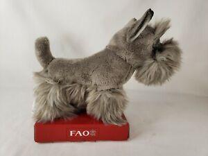"FAO Schwarz Gray Mini Schnauzer Scottie Scottish Puppy Dog Plush Stuffed Toy 8"""