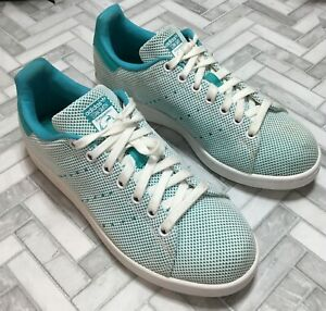 Adidas Men's 7.5 Stan Smith Sneakers Shoe Teal Blue S81875 Tennis Mesh Low Top