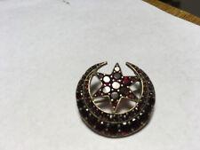 Antique Victorian Bohemian Garnet Crescent Moon and Star Brooch