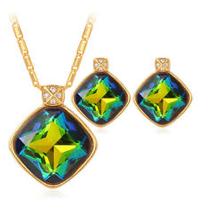 U7 18K Gold Plated Crystal Rhinestone Pendant Necklace Earrings Set for Women