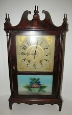 Antique Riley Whiting Pillar & Scroll Wood Works Weight Driven Clock