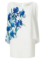 Jacques Vert Placement Print Layered Top Sleeveless Floral Size 10 - 22