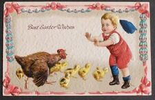 Hen & Chicks Chase Little Boy in Red Easter Eggs & Pink Ribbon Garland Border