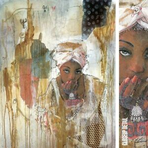 """28W""""x36H"""" SECRETS KEPT by MARTA WILEY -ETHNIC AFRICA HAIR WRAP CHOICES of CANVAS"""
