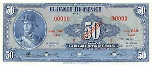 México  50  Pesos  17.2.1965  Series  BAR  Specimen  Uncirculated Banknote ME50