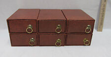 Storage Boxes Faux Leather Rectangle Drawer Pull Out Stackable Crafts Set 6 NOS