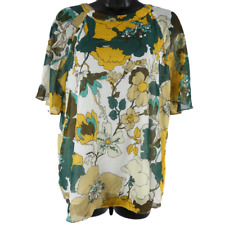 Cynthia Rowley Multi-Color Floral Short Sleeve Blouse Women's Size Small