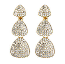 CLIP ON EARRINGS - gold plated dangle earring with clear crystals - Blix