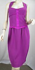 NARCISO RODRIGUEZ Purple Crepe/Silk Satin Harness Strap Sheath Dress sz 44 US 8