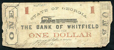 1862 $1 STATE OF GEORGIA BANK OF WHITFIELD DALTON, GA OBSOLETE BANKNOTE (C)